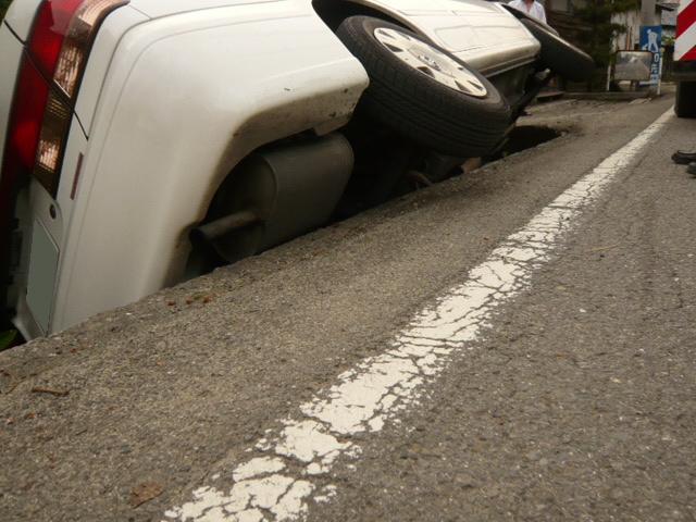 乗用車落ち込み救助